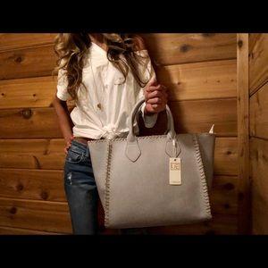 NWT...Urban Expressions Grey tote bag w stitching